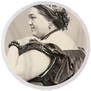 Fat Lady, 19th Century Round Beach Towel