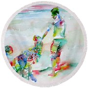 Father And Children Round Beach Towel