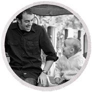 Father And Son II Round Beach Towel