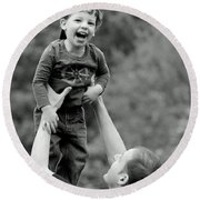 Father And Son IIi Round Beach Towel