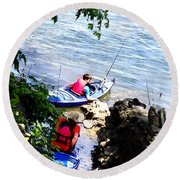 Father And Son Launching Kayaks Round Beach Towel