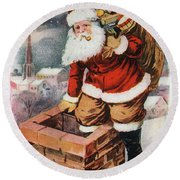 Father Christmas Popping Down The Chimney To Deliver Gifts To The Good.  Round Beach Towel