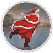 Father Christmas Skating On Duddingston Loch Round Beach Towel
