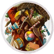 Father Christmas With Presents Round Beach Towel