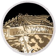 Father Time Looks Back Round Beach Towel
