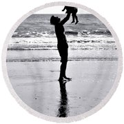 Fatherhood Round Beach Towel