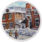 Faubourg A Melasse Montreal - Joys Of Winter By Prankearts Round Beach Towel
