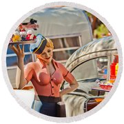 Faux 50's Drive-in Round Beach Towel