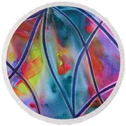 Faux Stained Glass II Round Beach Towel