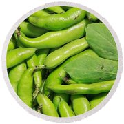 Fava Bean Pods Round Beach Towel