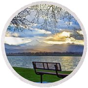 Favorite Bench And Lake View Round Beach Towel