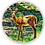 Fawn In The Woods Round Beach Towel