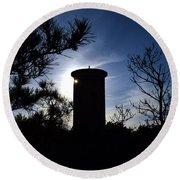 Fct1 Fire Control Tower 1 In Silhouette Round Beach Towel