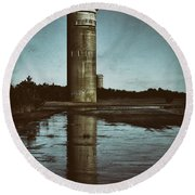 Fct3 Fire Control Tower Reflections In Sepia Round Beach Towel