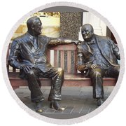 Fdr And Churchill Having A Chat In London Round Beach Towel