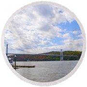 Fdr Mid Hudson Bridge - Poughkeepsie Ny Round Beach Towel