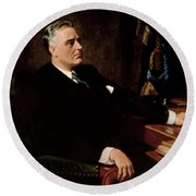 Fdr Official Portrait  Round Beach Towel by War Is Hell Store