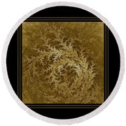 Fear Of The Forest-2 Framed Black And Gold Round Beach Towel