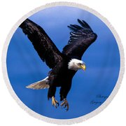 Fearsome Bald Eagle Round Beach Towel