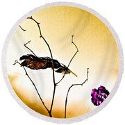 Feather And Carnation Round Beach Towel