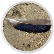 Feather And Inchworm Round Beach Towel