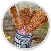 Feather Duster Bouquet Round Beach Towel