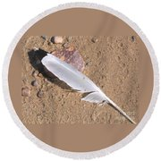Feather On Damp Sand Round Beach Towel