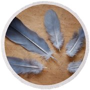 Feathers And Old Letter Round Beach Towel