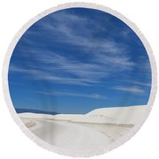 Feathery Clouds Over White Sands Round Beach Towel