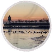 February Navy Pier Chicago Illinois Round Beach Towel