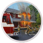 Feed Store Fire Round Beach Towel