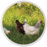 Feeding Chickens Round Beach Towel