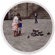 Feeding Pigeons In Santiago De Compostela Round Beach Towel by Mary Machare