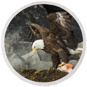 The Ultimate Bald Eagle Round Beach Towel
