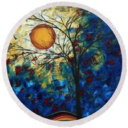 Feel The Sensation By Madart Round Beach Towel