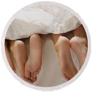 Feet In Bed Round Beach Towel