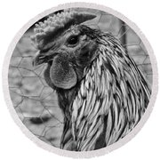 Felicia's Raving Rooster Round Beach Towel