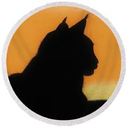 Feline - Sunset Round Beach Towel