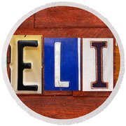 Felix License Plate Name Sign Fun Kid Room Decor Round Beach Towel