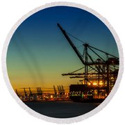 Felixstowe Docks Round Beach Towel by Svetlana Sewell