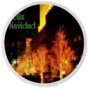 Feliz Navidad - Merry Christmas In New York - Trees And Star Holiday And Christmas Card Round Beach Towel