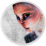 Female Alien Portrait Round Beach Towel