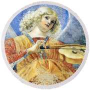 Female Angel Round Beach Towel