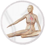 Female Body Sitting In Dynamic Posture Round Beach Towel