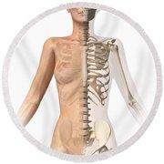 Female Body With Bone Skeleton Round Beach Towel