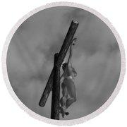 Female Crucifix Baw I Round Beach Towel