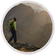 Female Hiker On Summit Of Tverrfjellet Round Beach Towel