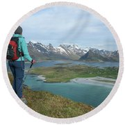 Female Hiker With Over Yttersand Beach Round Beach Towel
