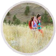 Female Hikers Walk On A Trail Round Beach Towel