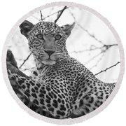 Female Leopard Round Beach Towel